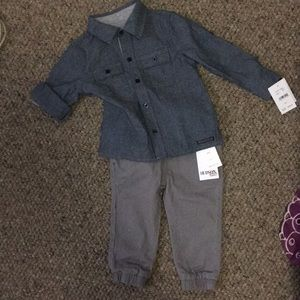 NWT Hudson Denim Button up and pants set 12-18m
